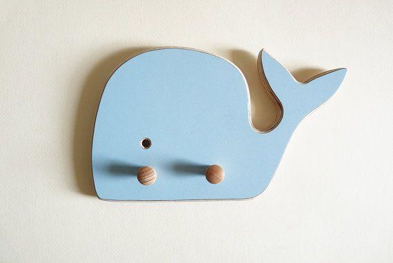 Light blue Whale Wall Hooks , formica , birch , nursery room , room decor