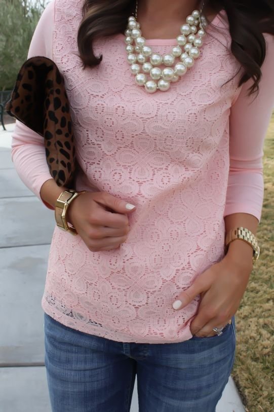 Not crazy about the pink color, but love the lace and pearls