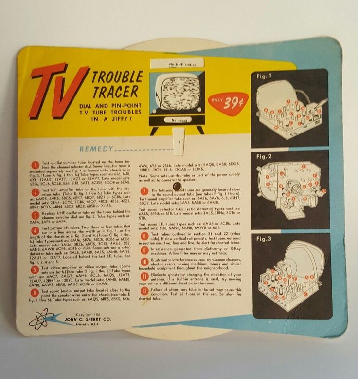 Vintage Television TV Trouble Tracer Guide Wheel 1959 Sperry Co Collectible