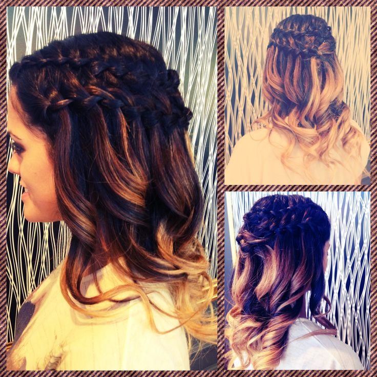 Waterfall braid, cascading braid, wedding hairstyle, ombré hair