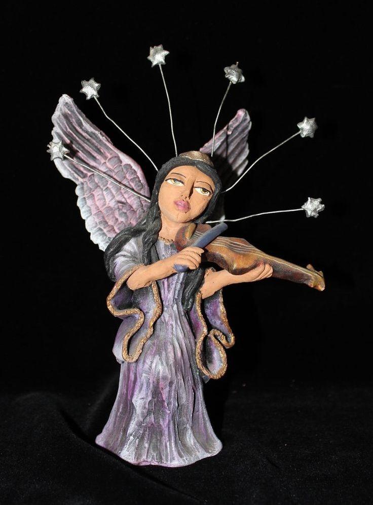 Angel Playing Violin Free Standaing Mexican Folk Art Oaxaca Jose Juan Aguilar  #Handmade