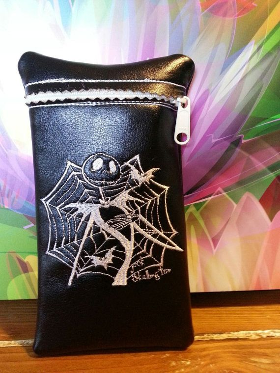 Jack Skellington custom glass pipe pouch by RedNeckRagsCreations