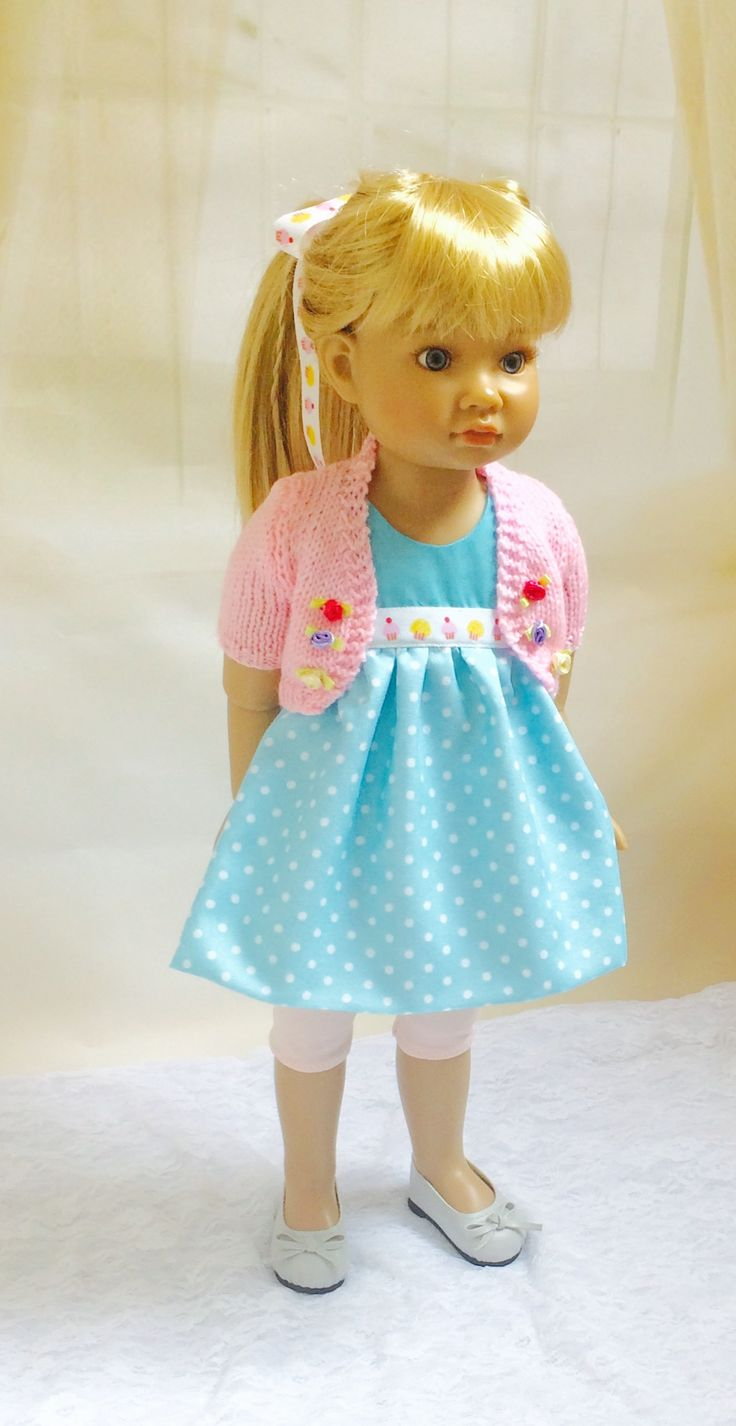Dress, leggings, bolero and ribbon to fit Kidz n Cats 18inch dolls. Made using and adapting patterns available at Pixiefaire and Sashassecrets bolero knitting pattern .