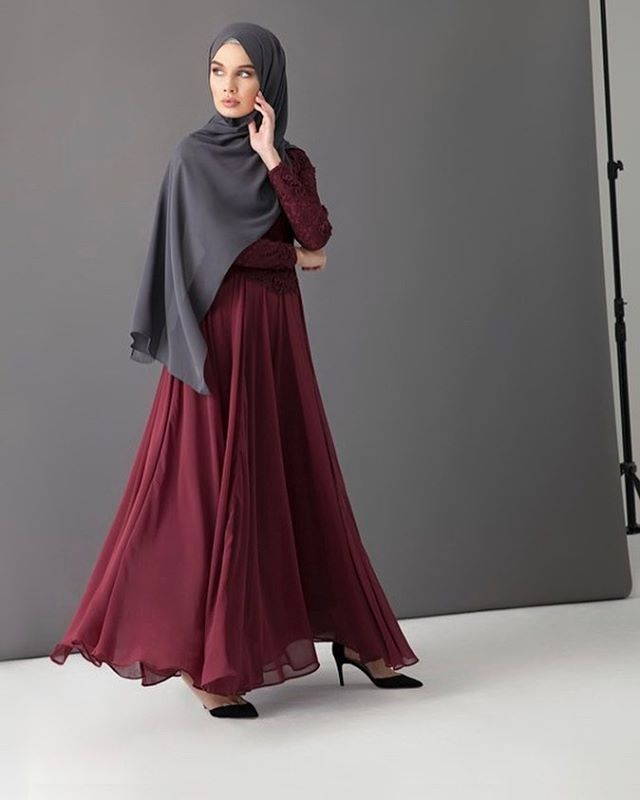Back by popular demand, we introduce to you our Maya Evening Gown, in a deep winter-inspired hue. Dark Berry Maya Evening Gown www.inayah.co