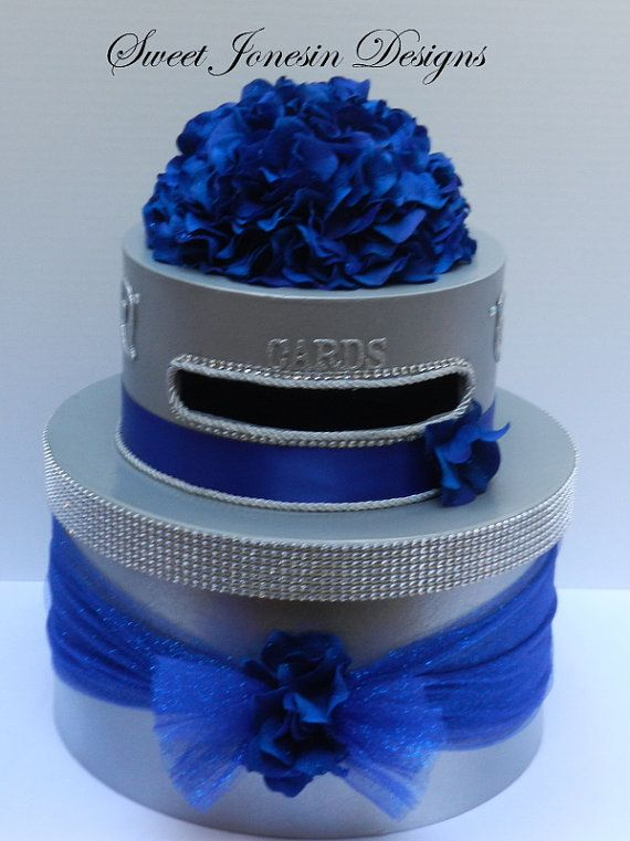 Royal Blue Wedding Cake Card Box Bling Ribbon by SweetJonesin, $89.00