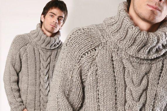 Sueter para hombre tejido a dos agujas - Imagui