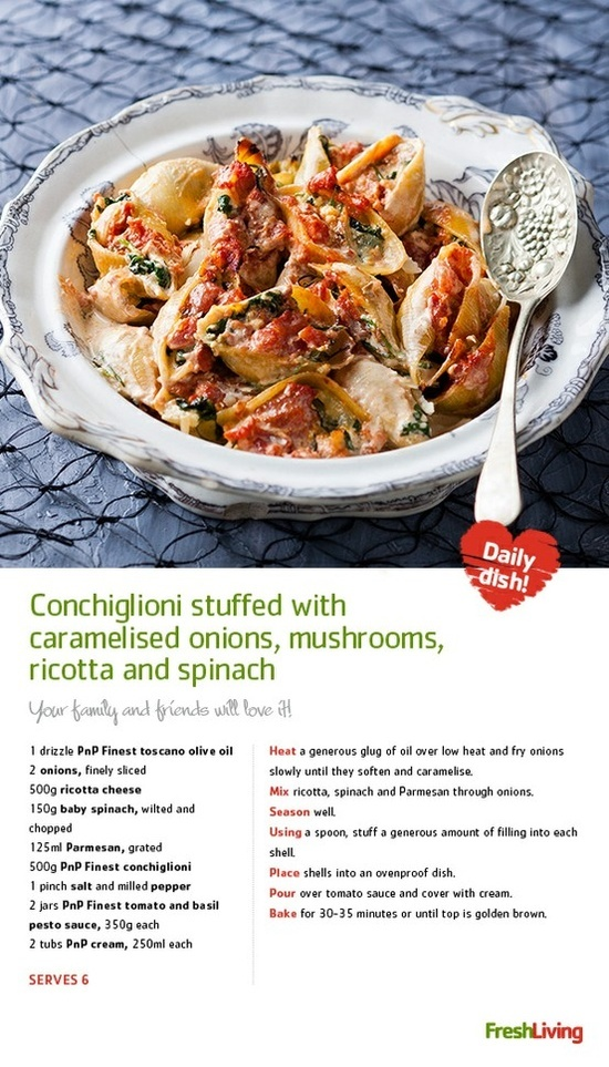 Conchiglioni Stuffed with Caramelised Onions, Mushrooms, Ricotta and Spinach