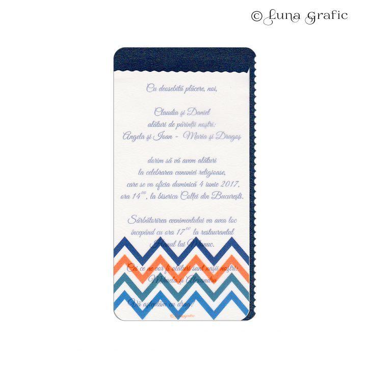 """Invitatii de nunta handmade """"Valuri"""" Invitatie in 3 straturi de hartie. Pentru suport am folosit un carton sidefat, textul este printat pe un carton texturat, iar modelul de suprafata este realizat pe hartie de calc. Plicul este, de asemenea, in ton cu invitatia si fabricat din carton texturat. El este inclus in pret si se livreaza impreuna cu invitatia propriu-zisa. Pentru ca totul sa fie perfect alegem impreuna culoarea si tipul cartonului astfel incat sa aveti un set de invitatii unice!"""