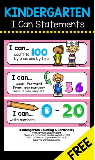 FREEBIE Kindergarten CCSS Standards – I Can Statements - Cards for Your pocket Charts and Checklists
