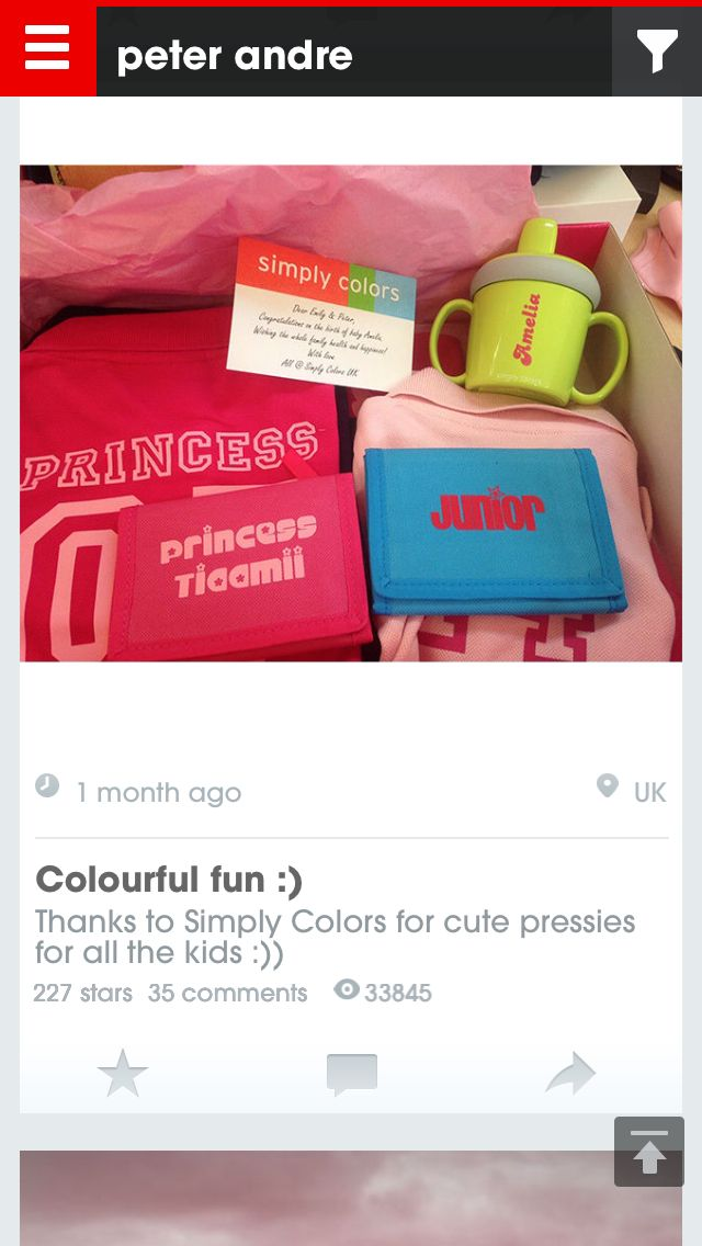 Tweet from Peter Andre thanking us via his app for all of the new baby goodies! #Amelia