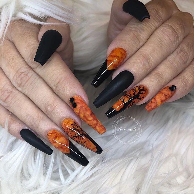 56 Fall Acrylic Nail Colors To Try This Year Koees Blog Cute Nail Colors Fall Nail Designs Halloween Nail Designs