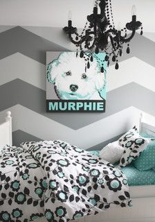 Gray and Turquoise Teen Bedroom
