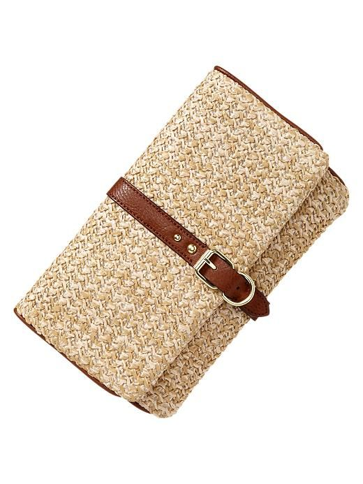 Gap | Straw foldover clutch