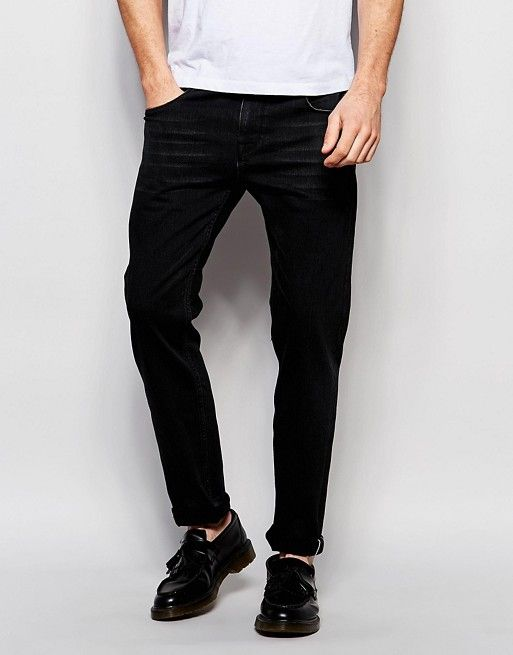 ASOS   ASOS Selvage Stretch Slim Jeans In 13oz Black