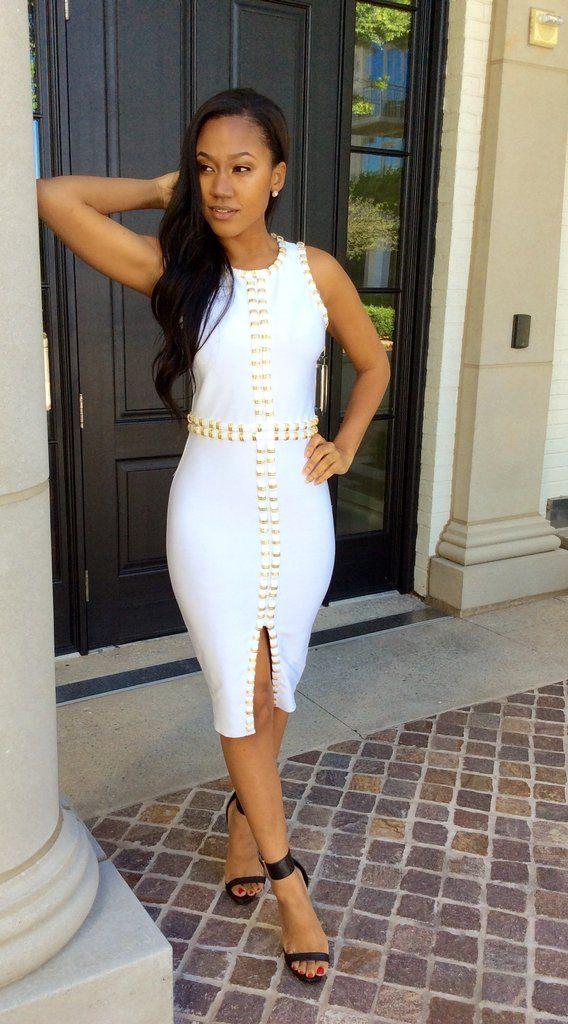 White Gold Bandage Dress