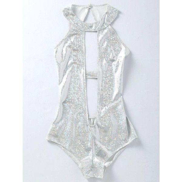 Backless Plunging One Piece Holographic Fabric Swimsuit ($15) ❤ liked on Polyvore featuring swimwear, one-piece swimsuits, plunge one piece bathing suit, swimming costume, one-piece swimwear, holographic one piece swimsuit and swimsuit swimwear
