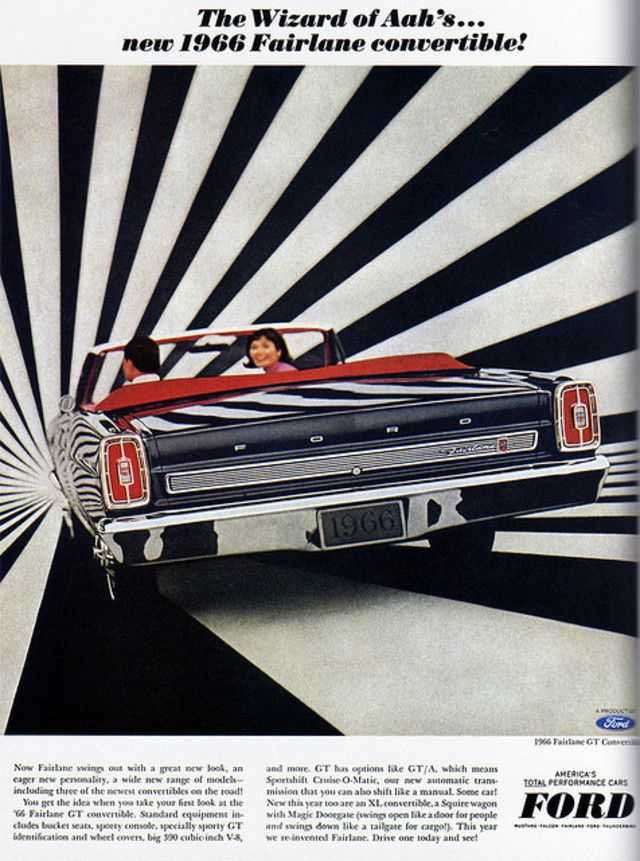 //: 1966 Ford, Fairlane Convertible, Cars, Vintage Advertisement, Ford Fairlane, Vintage Ads