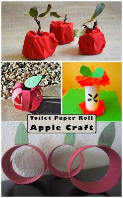 Toilet Paper Roll apple Craft for Kids.