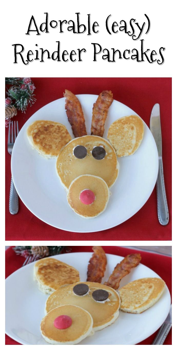 Make these cute Reindeer Pancakes for Christmas breakfast this year! No need to head to a restaurant-they are easy to make at home!