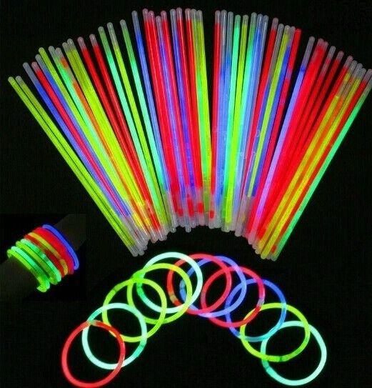 Superior 50 Pcs Glow Sticks Bracelets Necklaces Party Fluorescent Neon Colors Party Wedding Decal Decoration