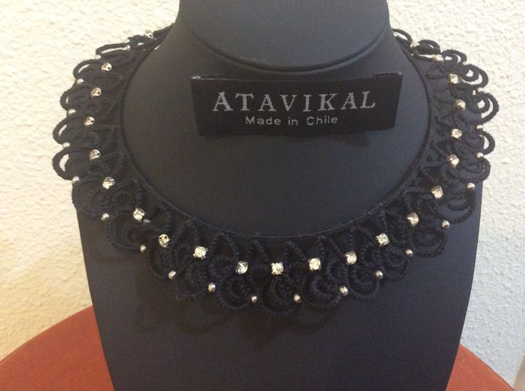 Exclusive handmade knitted frivolite necklace cotton and bright details by Atavikals on Etsy