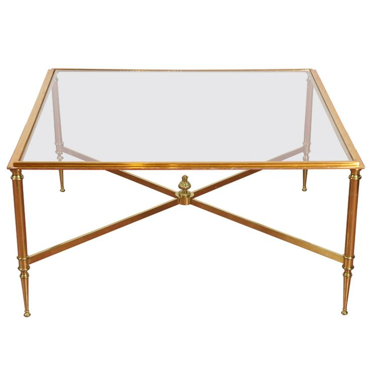 1stdibs | Directoire-Style Brass & Glass Coffee Table