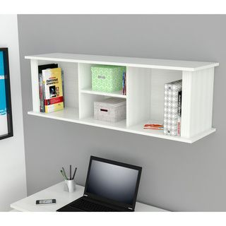 Inval Laricina White Wall Mount Hutch Bookcase | Overstock.com Shopping - The Best Deals on Office Storage & Organization