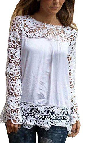 Lovaru para mujer blanca del cordón de la manga de la gasa del remiendo de la camisa blusa de la manera