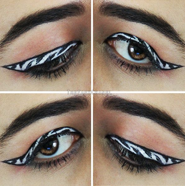 ZEBRA MAKEUP EYELINER! Makeup Tutorial: https://youtu.be/NjMhUN140iI  1 OUT OF 5 CREATIVE EYELINER IDEAS, LOOKS, AND STYLES!  Source: http://catherineannbarron.com/creative-eyeliner-ideas-looks-and-styles-makeup-eyeliner-tutorial/
