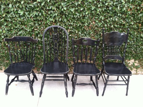 Distressed black vintage dining chairs set of 4 mix for Kitchen set los angeles
