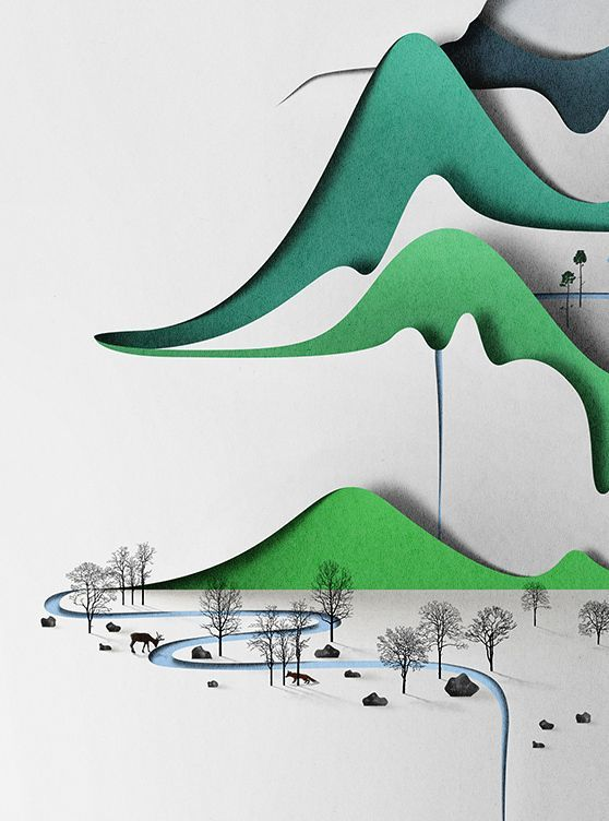 Eiko Ojala creates serene nature scenes that look like they are cut from paper.