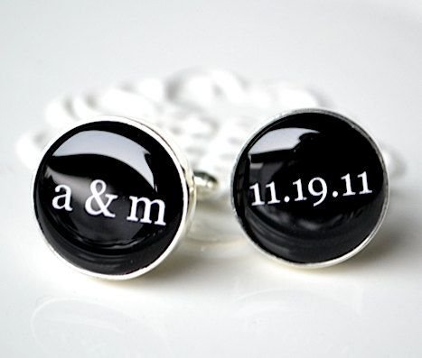 Custom Cufflinks - personalized initial and date round cuff links with classic font - vintage inspired keepsake shirt accessory gift for him. $42.00, via Etsy.