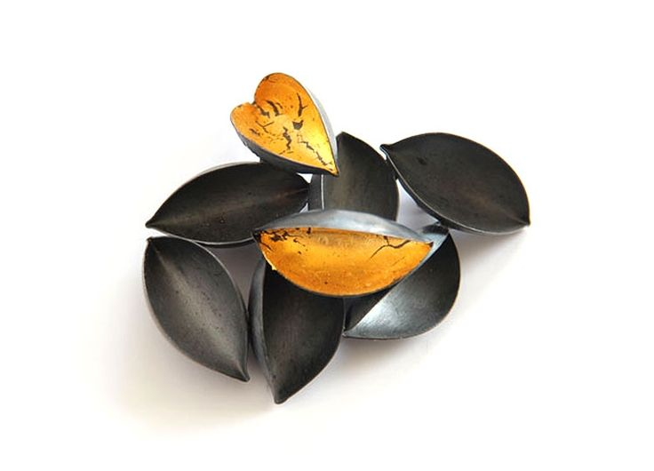 Nikolai Balabin Brooch: Fallen Gold silver, patina, leaf gold - Endless Closeness.