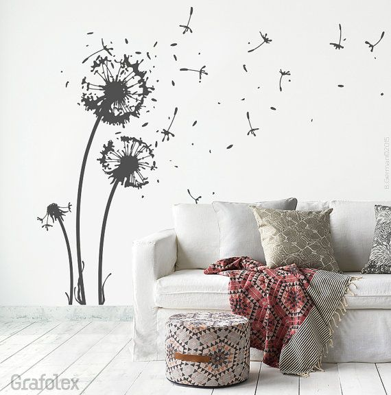 Wall Sticker Flower + 22 Flight Seeds + 6 Butterflies   Dandelion Wall  Sticker Wall Decal Sticker For Living Room Dining Room Decoration W311