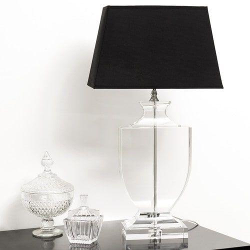 Lampada nera in cristallo e abat-jour in cotone H 65 cm MIRANO