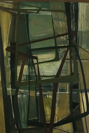 Margo Lewers. Abstract in Brown and Green Oil on board, 136 x 91 cm