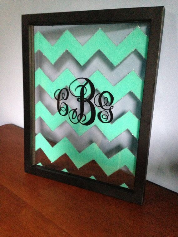 Chevron Monogram Wall Decoration with Silver by CarolynGraceB, $65.00