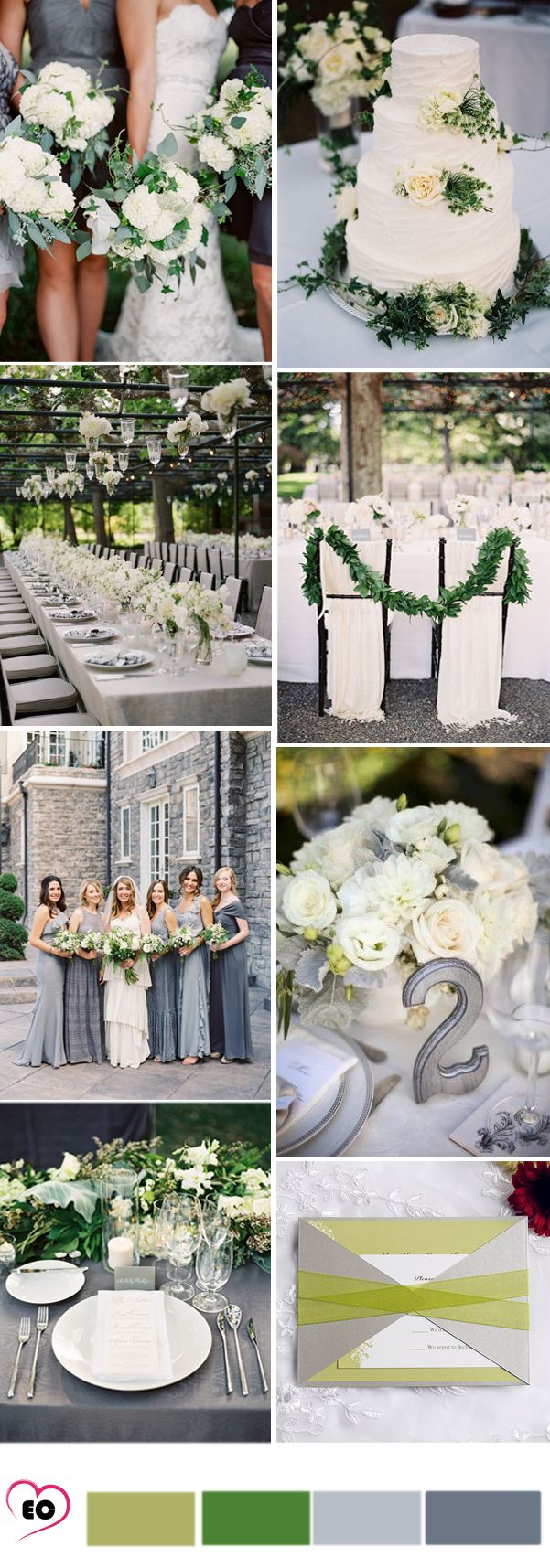 grey and green wedding idea