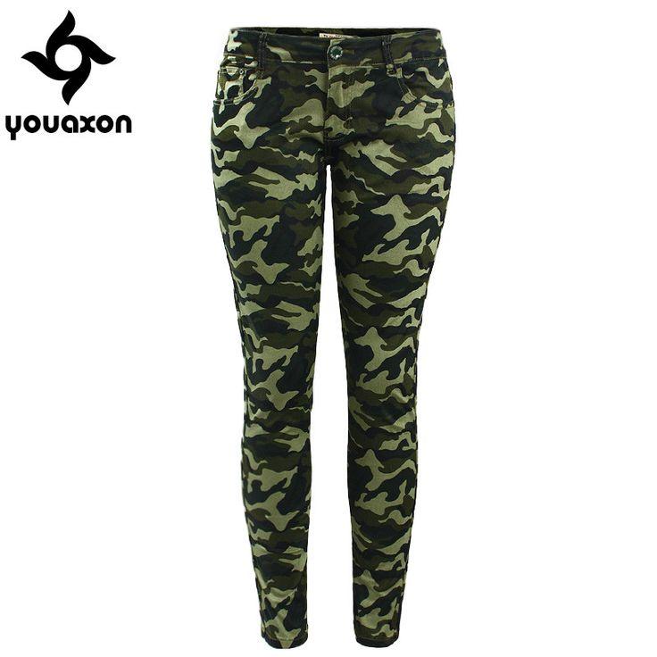 Women`s S-XXXXXL Plus Size Chic Camo Army Green Skinny Jeans For Women