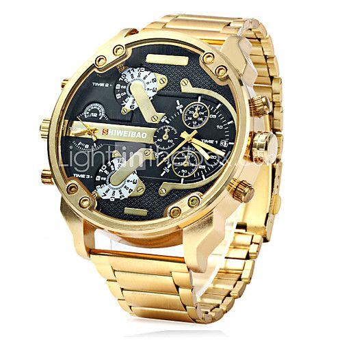 mode militaire montre bracelet en acier d'or de quartz double temps des hommes - USD $19.99