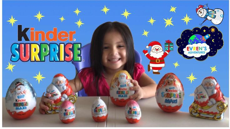 GIANT KINDER SURPRISE EGGS Christmas SPECIAL EDITION! Opening 5 New Huge Giant Jumbo Kinder Maxi Surprise and Kinder Surprise Eggs. Thanks for joining Evren opening super giant Jumbo Christmas special edition Kinder surprise eggs. Great kids fun video for children who loves toy surprise and opening giant kinder surprise eggs! Thanks for watching.   Please SUBSCRIBE for more upcoming Giant Kinder Eggs Surprise opening http://www.youtube.com/c/EvrenAdventures?sub_confirmation=1