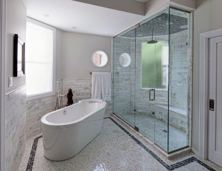 1000 ideas about white mosaic bathroom on pinterest for Carrelage salle de bain marbre