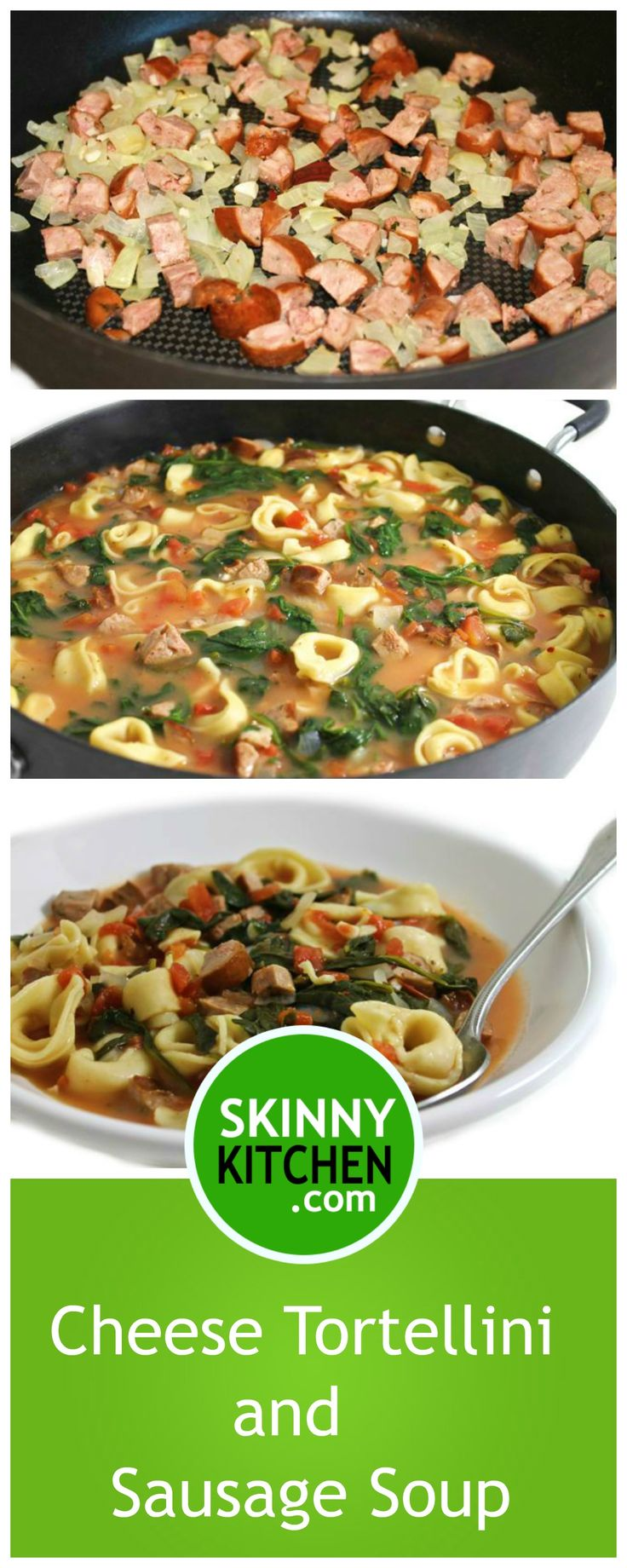 (NEW) SkinnyRustic Cheese Tortellini and Sausage Soup. This is a really good Italian, main course soup. Each huge 2 cup serving has 245 calories, 6g fat and 6 SmartPoints. http://www.skinnykitchen.com/recipes/skinnyrustic-cheese-tortellini-and-sausage-soup/