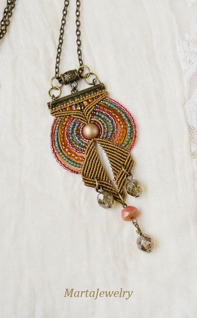 Bohemian necklace macrame necklace boho chic by MartaJewelry