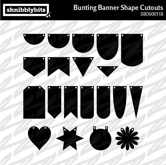 Bunting Banner Shape Cutouts  SVG DXF PNG Digital