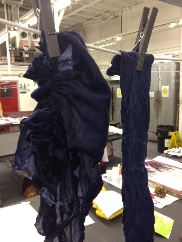 Shibori silks oxidising in the studio