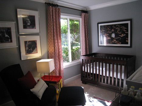 Red White Curtains and Grey Wall Themes in Modern Small Kids Bedroom Design Ideas... office curtains