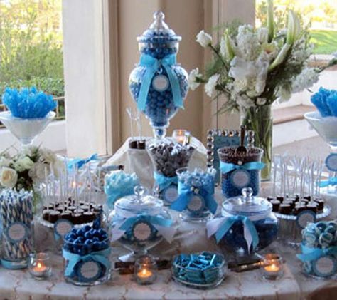 Blue wedding  candy table