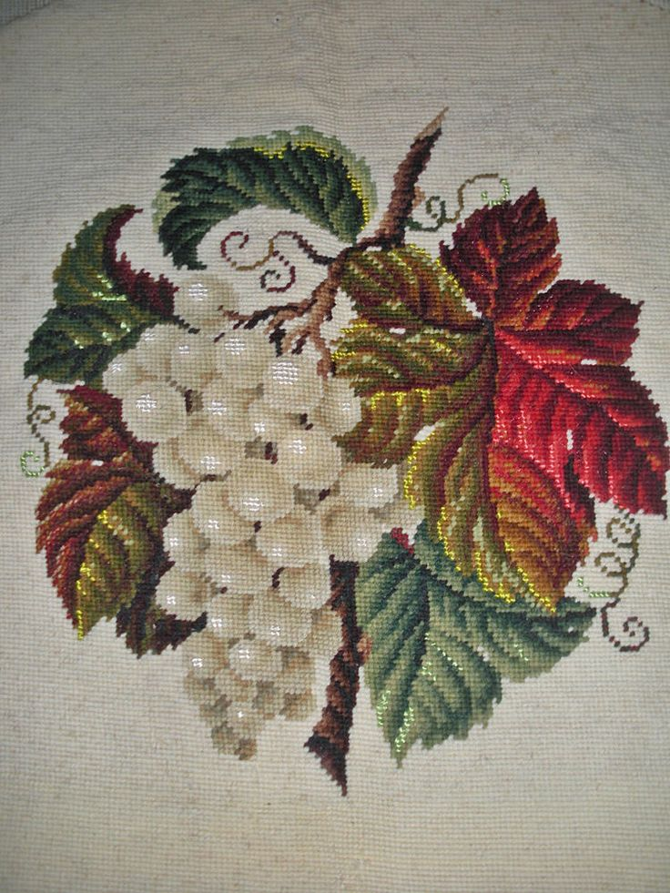 Gorgeous Antique French Needlepoint Embroidery ~Grapes & Vine Leaves~