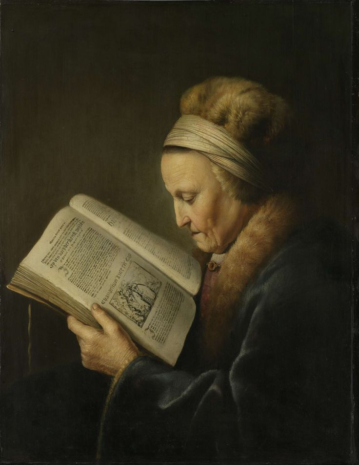 Old Woman Reading, Gerard Dou, c. 1631 - c. 1632 oil on panel, h 71.2cm × w 55.2cm × d 1.1cm In this painting, there seems to be a light on allowing this woman to read the book. With out the gleam/shine of the oil paint, a light source may have had to be added to the painting.   If the artist had used sculpture, the light feature would not be possible without adding another sculpture.